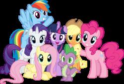 Size: 1087x734 | Tagged: safe, applejack, fluttershy, pinkie pie, rainbow dash, rarity, spike, twilight sparkle, alicorn, cute, mane seven, mane six, simple background, transparent background, twilight sparkle (alicorn)