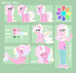 Size: 4207x4031 | Tagged: safe, artist:ashidaii, oc, oc:crystal prism, pony, seapony (g4), unicorn, equestria girls, absurd resolution, female, mare, reference sheet, solo