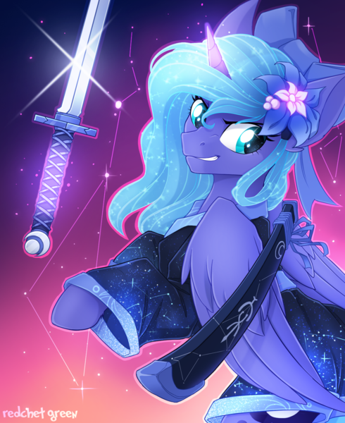 Size: 1200x1469 | Tagged: safe, artist:redchetgreen, princess luna, alicorn, pony, badass, bow, clothes, constellation, cute, featured image, female, flower, flower in hair, glare, glowing horn, glowing mane, grin, hair bow, horn, katana, kimono (clothing), levitation, lunabetes, magic, mare, rearing, samurai, scabbard, smiling, smirk, solo, sword, telekinesis, warrior luna, weapon