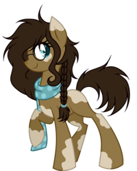 Size: 1024x1279 | Tagged: safe, artist:mintoria, oc, oc:chocolate cookie, earth pony, pony, clothes, female, glasses, mare, scarf, simple background, solo, transparent background
