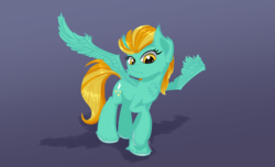 Size: 2800x1700 | Tagged: safe, artist:coldtrail, lightning dust, pegasus, pony, female, simple background, smiling, spread wings, wings