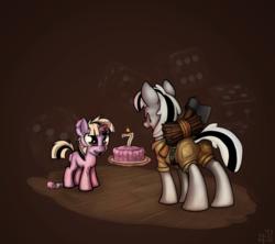 Size: 2790x2480 | Tagged: safe, artist:sharpy, oc, oc only, oc:badluck dice, oc:viendal sparkle, pony, unicorn, axe, birthday cake, birthday candles, cake, dice, food, glowing horn, magic, prpg, telekinesis, weapon