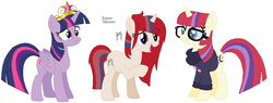 Size: 1132x432 | Tagged: safe, artist:creepysteeple, artist:goldengallows, moondancer, twilight sparkle, alicorn, big crown thingy, family, female, jewelry, lesbian, magical lesbian spawn, offspring, parents:twidancer, regalia, shipping, simple background, twidancer, twilight sparkle (alicorn), white background