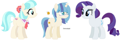 Size: 1208x426 | Tagged: safe, artist:creepysteeple, artist:goldengallows, coco pommel, rarity, earth pony, pony, unicorn, family, female, glasses, lesbian, magical lesbian spawn, mare, marshmallow coco, offspring, parents:marshmallow coco, shipping, simple background, smiling, white background
