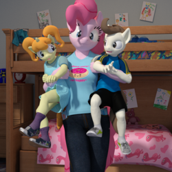 Size: 2000x2000 | Tagged: safe, artist:tahublade7, pinkie pie, pound cake, pumpkin cake, anthro, plantigrade anthro, 3d, :p, bunk bed, cake twins, clock, clothes, cute, daz studio, derp, donut, drawing, dress, female, filly, food, male, older, panties, pigtails, pink underwear, pinkie time, shirt, shoes, shorts, silly, skirt, sneakers, socks, stuffed toy, t-shirt, tongue out, underwear, upskirt