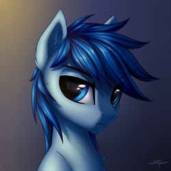 Size: 3000x3000 | Tagged: safe, artist:setharu, oc, oc:p-21, pony, fallout equestria, fallout equestria: project horizons, abstract background, fanfic art, looking at you, male, signature, solo, stallion