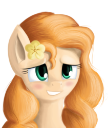 Size: 2558x3038 | Tagged: safe, artist:qbellas, pear butter, pony, the perfect pear, blushing, eyelashes, female, flower, lidded eyes, mare, scene interpretation, simple background, smiling, smirk, solo, transparent background