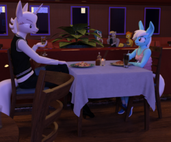 Size: 2400x2000 | Tagged: safe, artist:tahublade7, derpy hooves, sonata dusk, spitfire, zesty gourmand, oc, oc:minolta grandeur, anthro, plantigrade anthro, 3d, adopted offspring, alcohol, big ears, bucktooth, candle, clothes, daz studio, dining table, dress, female, food, high res, parent:photo finish, parents:zestyfinish, pasta, plant, restaurant, shoes, sneakers, soda, spaghetti, table, vest, wine