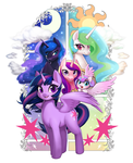 Size: 1136x1400 | Tagged: alicorn, alicorn pentarchy, artist:pohwaran, ethereal mane, looking at you, pony, princess cadance, princess celestia, princess flurry heart, princess luna, safe, starry mane, twilight sparkle, twilight sparkle (alicorn)