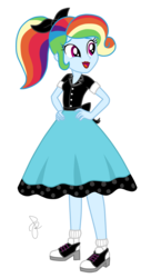 Size: 750x1290 | Tagged: 1950s, 1950s rainbow dash, 50's fashion, alternate hairstyle, artist:ilaria122, base used, clothes, equestria girls, equestria girls series, hand on hip, hands on hip, lipstick, makeup, model, modeling, ponytail, poodle skirt, rainbow dash, rainbow dash always dresses in style, rollercoaster of friendship, safe, shirt, shoes, simple background, skirt, sockhop, socks, transparent background