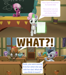 Size: 1920x2160 | Tagged: 3d, artist:red4567, button mash, cheerilee, diamond tiara, dinky hooves, earth pony, exclamation point, female, foxtrot, glowing horn, interrobang, lily longsocks, magic, male, pipsqueak, pony, question mark, report, rumble, safe, shipping, snails, snips, source filmmaker, straight, sweetie belle, sweetie belle's magic brings a great big smile, sweetiemash, telekinesis, unicorn