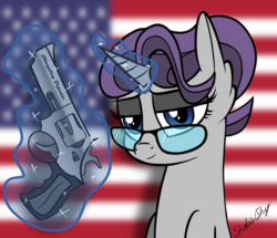 Size: 969x833 | Tagged: alternate version, american flag, artist:shobieshy, bedroom eyes, ear fluff, female, glasses, glowing horn, gun, handgun, levitation, looking at you, magic, mare, oc, oc:hot lead, oc only, pony, revolver, safe, solo, telekinesis, unicorn, weapon