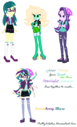 Size: 770x1260 | Tagged: safe, artist:prettycelestia, artist:selenaede, juniper montage, starlight glimmer, oc, equestria girls, fusion, gem fusion, multiple arms, multiple limbs, simple background, six arms, steven universe, white background