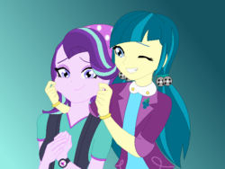 Size: 668x503 | Tagged: safe, artist:felixaimeegarcia, juniper montage, starlight glimmer, equestria girls, cheek pinch, cute, duo, duo female, female, glimmerbetes, gradient background, junibetes, smiling