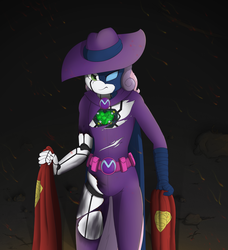 Size: 2520x2760 | Tagged: angry, anthro, artist:pentoolqueen, clothes, female, heart, intimidating, kryptonite, looking at you, mare do well, metallo, robot, safe, solo, superman, sweetie belle, sweetie bot, sweetie do well, torn clothes, uniform