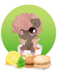 Size: 4348x5808   Tagged: safe, artist:xsatanielx, oc, oc only, pegasus, pony, absurd resolution, chibi, cup, cup of pony, cute, female, food, lemon, macaron, micro, ocbetes, ponies in food, rcf community, solo, tea