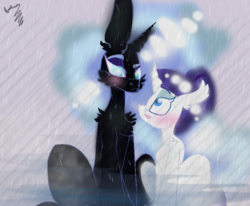 Size: 847x698 | Tagged: safe, artist:fuchsia flame, nightmare moon, rarity, alicorn, original species, unicorn, the cutie re-mark, alternate timeline, art, big ears, blushing, chest fluff, ear fluff, equines, female, implied shipping, lesbian, looking at each other, makeup, mare, night maid rarity, nightmare takeover timeline, nightrarity, shipping, shower, sidemouth, steam, water, wet