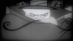 Size: 1280x720 | Tagged: safe, screencap, gustave le grande, griffon, mmmystery on the friendship express, season 2, cape, clothes, dastardly whiplash, film grain, grayscale, monochrome, solo