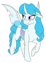 Size: 497x686 | Tagged: safe, artist:mythpony, oc, changedling, changeling, albino changeling, blue changeling, changedling oc, changeling oc, female, freckles, simple background, solo, white background, white changeling