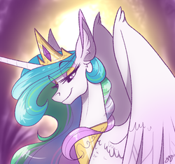 Size: 1000x936 | Tagged: safe, artist:probablyfakeblonde, princess celestia, alicorn, pony, crown, female, horn, jewelry, mare, regalia, smiling, solo, spread wings, wings