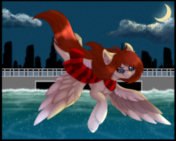 Size: 5000x4000 | Tagged: absurd res, artist:red_moonwolf, city, cityscape, clothes, flying, glasses, moon, oc, oc:amber chestnut, oc only, pegasus, pony, safe, scarf, solo, water