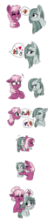 Size: 574x2326 | Tagged: safe, artist:saphi-boo, cheerilee, marble pie, earth pony, pony, blushing, cheeribetes, couple, cute, daaaaaaaaaaaw, female, hair bun, hug, lesbian, marbilee, marblebetes, pictogram, sequence, shipping, simple background, speech bubble, thought bubble, transparent background