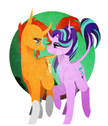 Size: 1024x1183 | Tagged: safe, artist:rxiantool, starlight glimmer, sunburst, classical unicorn, pony, unicorn, cloven hooves, date, female, leonine tail, looking at each other, male, shipping, simple background, smiling, starburst, straight, transparent background, unshorn fetlocks, watermark