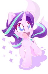 Size: 2650x4095 | Tagged: safe, artist:hungrysohma, starlight glimmer, pony, unicorn, chest fluff, cute, daaaaaaaaaaaw, female, glimmerbetes, happy, heart, looking up, mare, open mouth, raised hoof, smiling, solo