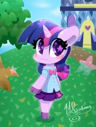 Size: 3092x4096   Tagged: safe, artist:hungrysohma, twilight sparkle, alicorn, pony, semi-anthro, :3, animal crossing, arm hooves, bipedal, blush sticker, blushing, chibi, clothes, cloven hooves, crossover, cute, equestria girls outfit, female, grass, nintendo, pleated skirt, skirt, smiling, solo, starry eyes, tree, twiabetes, twilight sparkle (alicorn), wingding eyes