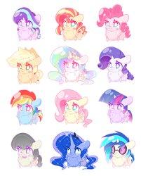 Size: 3289x4096   Tagged: safe, artist:hungrysohma, applejack, dj pon-3, fluttershy, octavia melody, pinkie pie, princess celestia, princess luna, rainbow dash, rarity, starlight glimmer, sunset shimmer, twilight sparkle, vinyl scratch, alicorn, earth pony, pegasus, pony, unicorn, :3, blush sticker, blushing, chest fluff, chibi, cute, cutelestia, dashabetes, diapinkes, female, floppy ears, fluffy, glimmerbetes, impossibly large chest fluff, jackabetes, lunabetes, mane six, raribetes, shimmerbetes, shyabetes, smiling, tavibetes, twilight sparkle (alicorn), weapons-grade cute