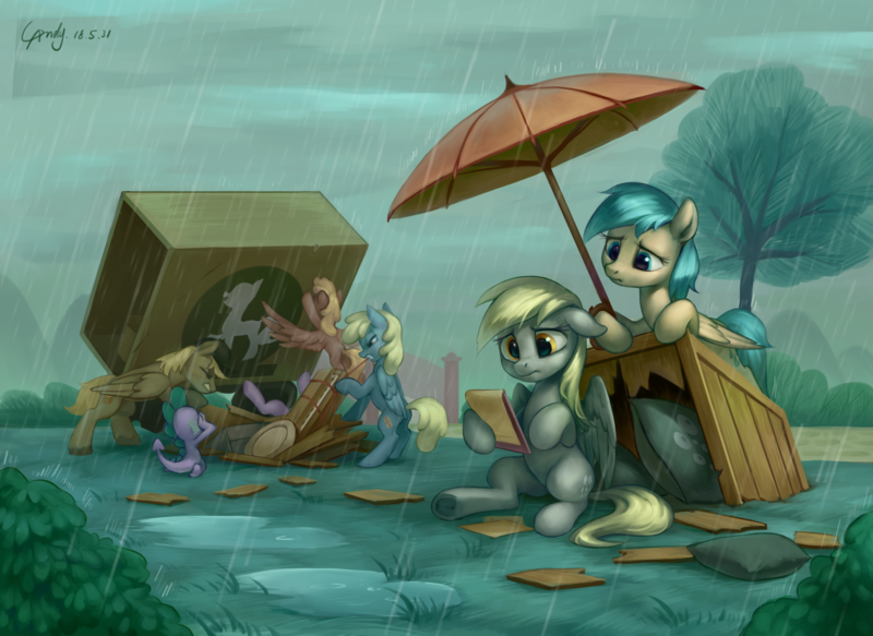 Size: 2797x2040 | Tagged: safe, artist:luciferamon, crafty crate, derpy hooves, spike, sunshower raindrops, twilight sparkle, dragon, pegasus, pony, unicorn, feeling pinkie keen, background pony, cute, derpabetes, featured image, female, high res, i just don't know what went wrong, male, mare, oops my bad, rain, reality ensues, sad, scene interpretation, sitting, skywagon, stallion, sweet dreams fuel, this will end in hospitalization, umbrella