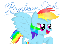 Size: 3508x2480   Tagged: safe, artist:twinblade edge, rainbow dash, open mouth, raised hoof, signature, solo, spread wings, text, wings