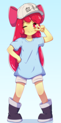 Size: 2000x4000 | Tagged: anime, apple bloom, artist:rockset, clothes, equestria girls, female, gradient background, hataraku saibou, looking at you, platelets, safe, shirt, shorts, smiling, solo, t-shirt