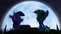 Size: 3840x2160 | Tagged: 3d, alicorn, artist:wiizzie, e.t. the extra-terrestrial, moon, pony, prone, rainbow dash, safe, twilight sparkle, twilight sparkle (alicorn)