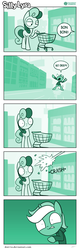 Size: 726x2272 | Tagged: artist:dori-to, bon bon, clothes, comic, comic:silly lyra, earth pony, fail, female, green background, greenscale, hoodie, lyra heartstrings, mare, monochrome, pony, safe, shopping cart, silly lyra, simple background, supermarket, sweetie drops, throwing, unicorn