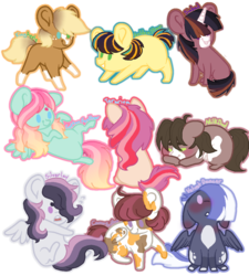 Size: 1024x1137 | Tagged: safe, artist:clay-bae, oc, oc only, oc:camo feather, oc:cotton feather, oc:golden star, oc:king apple, oc:milk dud, oc:silverlay (clay-bae), oc:sinbad, oc:terrarium, oc:velvet dancer, earth pony, pegasus, pony, unicorn, base used, blaze (coat marking), chibi, coat markings, female, hair over eyes, male, mare, next generation, offspring, parent:applejack, parent:derpy hooves, parent:pinkie pie, parent:pipsqueak, parent:rumble, parent:scootaloo, parent:sheriff tumbleweed, parent:soarin', parent:sweetie belle, parent:troubleshoes clyde, parent:twilight sparkle, parent:zephyr breeze, parents:derpyshoes, parents:rumbelle, parents:scootasqueak, parents:soarlight, parents:troubletwi, parents:tumblejack, parents:zephyrpie, simple background, socks (coat marking), stallion, transparent background