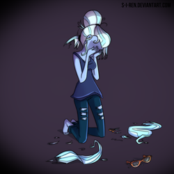 Size: 1000x1000 | Tagged: safe, artist:s-i-ren, sugarcoat, equestria girls, broken glasses, crying, cutting, depressed, depressing, depression, glasses, hair, sad, scissors, solo