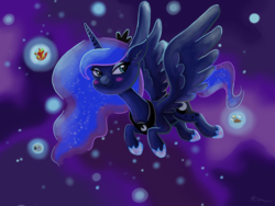Size: 2224x1668 | Tagged: alicorn, alicornified, artist:catscratchpaper, big macintosh, derpy hooves, dream realm, dream walker luna, ethereal mane, female, flying, food, i mean i see, mare, muffin, pony, princess big mac, princess luna, race swap, safe, smiling, solo, starlight glimmer, starry mane
