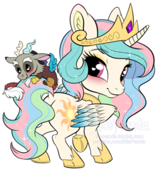 Size: 900x1007   Tagged: safe, artist:stepandy, discord, princess celestia, alicorn, draconequus, pony, blushing, butt, chibi, chibilestia, clothes, cloven hooves, colored wings, colored wingtips, crown, cute, cutelestia, discute, dislestia, dock, female, happy, heart eyes, hug, jewelry, looking back, male, mare, necklace, obtrusive watermark, plot, raised hoof, regalia, shipping, shoes, signature, simple background, size difference, smiling, sparkly mane, spread wings, standing, straight, sunbutt, tail hug, transparent background, watermark, wingding eyes, wings