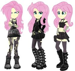 Size: 845x803 | Tagged: safe, artist:tokatl, fluttershy, equestria girls, alternate hairstyle, belly button, belt, belts, boots, choker, clothes, crossed arms, dress, emo, eyeshadow, female, fishnets, fluttergoth, frown, gloves, goth, hands in pockets, hoodie, jewelry, looking at you, makeup, midriff, miniskirt, necklace, pantyhose, pleated skirt, shoes, simple background, skirt, socks, solo, spiked wristband, stockings, tanktop, thigh highs, tights, white background, wristband, zettai ryouiki