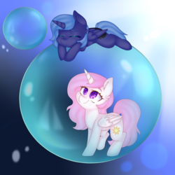 Size: 3000x3000 | Tagged: alicorn, artist:thecreativerey, bubble, cewestia, duo, female, filly, filly celestia, filly luna, in bubble, looking up, pink-mane celestia, pony, princess celestia, princess luna, safe, sleeping, smiling, woona, younger