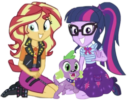 Size: 1029x851   Tagged: safe, artist:php77, editor:php77, sci-twi, spike, spike the regular dog, sunset shimmer, twilight sparkle, dog, equestria girls, equestria girls series, boots, clothes, female, geode of empathy, geode of telekinesis, glasses, jacket, paws, ponytail, puppy, shoes, simple background, smiling, transparent background