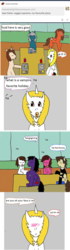 Size: 1063x3805 | Tagged: ask, ask-ponys-university, earth pony, food, oc, pegasus, safe, tumblr, unicorn, vampire, vampony