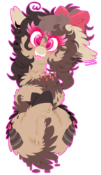 Size: 625x1080 | Tagged: safe, artist:vanillaswirl6, oc, oc only, oc:choco cake delight, cake pony, earth pony, pony, bow, chest fluff, colored hooves, colored muzzle, colored pupils, commission, cute, dripping, ear fluff, floppy ears, freckles, hair bow, looking at you, on back, open mouth, signature, simple background, solo, sparkles, tail hold, transparent background