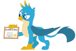 Size: 865x586 | Tagged: safe, artist:nltlf, artist:porygon2z, edit, gallus, griffon, blackletter, certificate, male, simple background, solo, white background