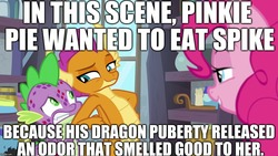 Size: 1280x720 | Tagged: safe, edit, edited screencap, editor:useraccount, screencap, pinkie pie, smolder, spike, dragon, pony, molt down, dragoness, female, funny, image macro, implied vore, male, meme, molting, recap, stone scales, truth