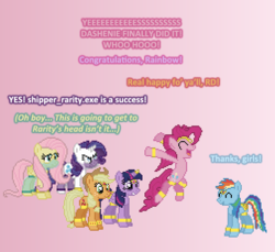 Size: 504x461 | Tagged: ain't never had friends like us, alicorn, applejack, artist:verve, ask, earth pony, female, fluttershy, genie, gradient background, mane six, mare, pegasus, pinkie pie, pixel art, pony, rainbow dash, rarity, safe, shipper on deck, tumblr, twilight sparkle, twilight sparkle (alicorn), unicorn