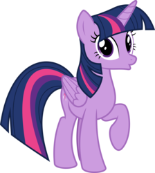 Size: 6400x7129 | Tagged: absurd res, alicorn, artist:parclytaxel, female, looking at you, mare, :o, open mouth, pony, raised hoof, safe, simple background, solo, .svg available, transparent background, twilight sparkle, twilight sparkle (alicorn), vector