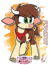 Size: 1071x1400 | Tagged: arizona cow, artist:fuzon-s, cloven hooves, community related, cow, female, horns, raised hoof, safe, solo, sonic the hedgehog (series), style emulation, them's fightin' herds, yuji uekawa style