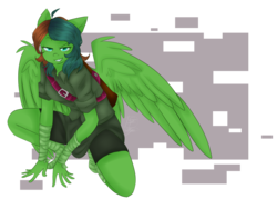 Size: 2800x2000 | Tagged: abstract background, anthro, anthro oc, artist:graytea, badass, bandage, bandages on wrist, clothes, commission, female, foot wraps, oc, oc only, oc:windy barebow evergreen, pegasus, quiver, safe, shirt, short hair, shorts, simple background, smiling, smirk, solo, transparent background, wings, wrist wraps